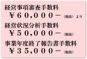 経審¥60,000- 分析¥50,000- 事業年度終了報告書¥35,000-