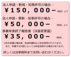 新規許可…¥150,000 更新許可…¥50,000 事業年度終了報告書(決算変更届)…¥35,000